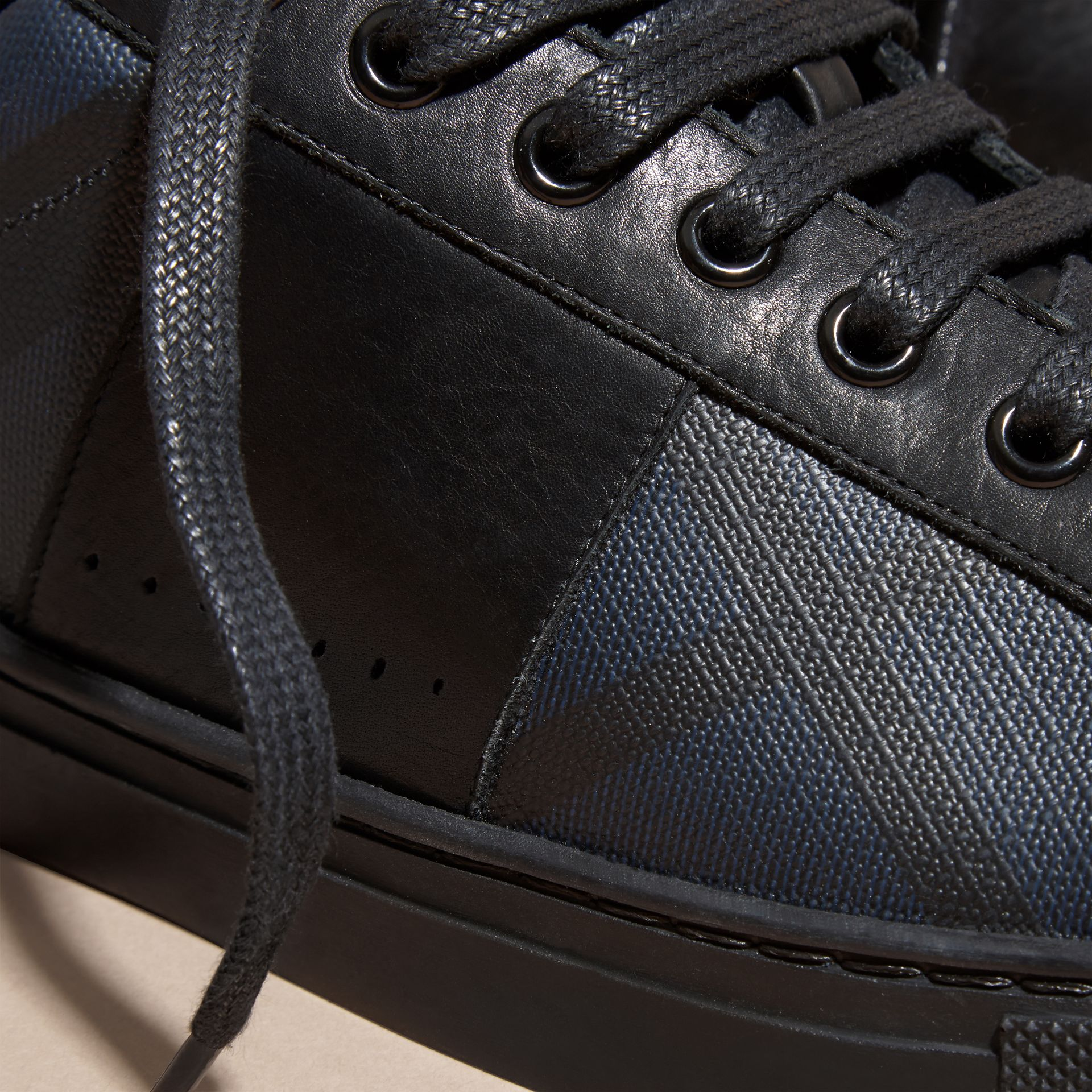 Check Detail Leather Trainers in Navy - Men | Burberry - gallery image 2