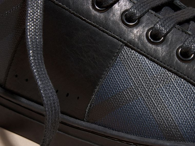 Check Detail Leather Trainers in Navy - Men | Burberry Hong Kong - cell image 1