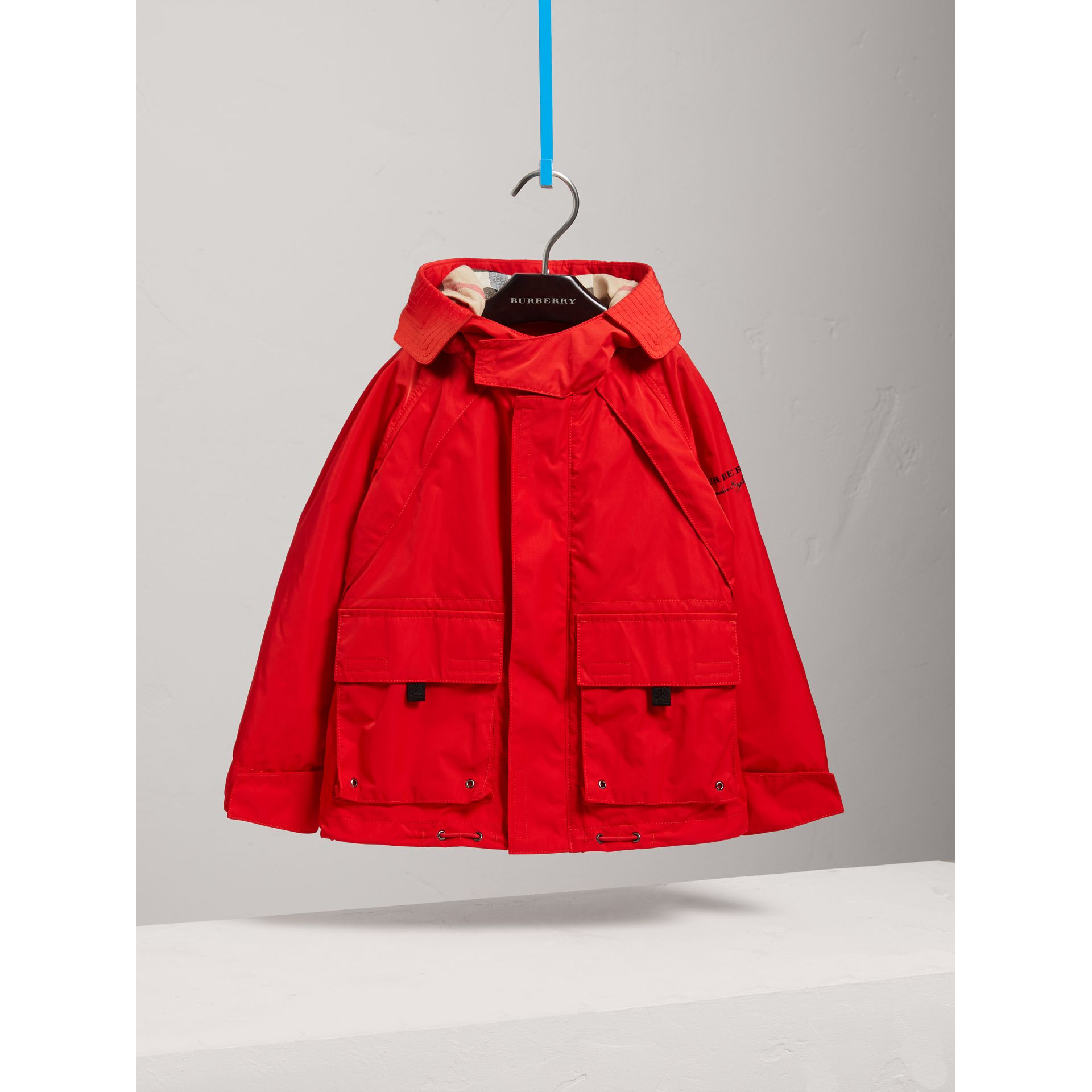 Hooded Shape-memory Taffeta Field Jacket in Bright Orange Red - Boy | Burberry Singapore - gallery image 2