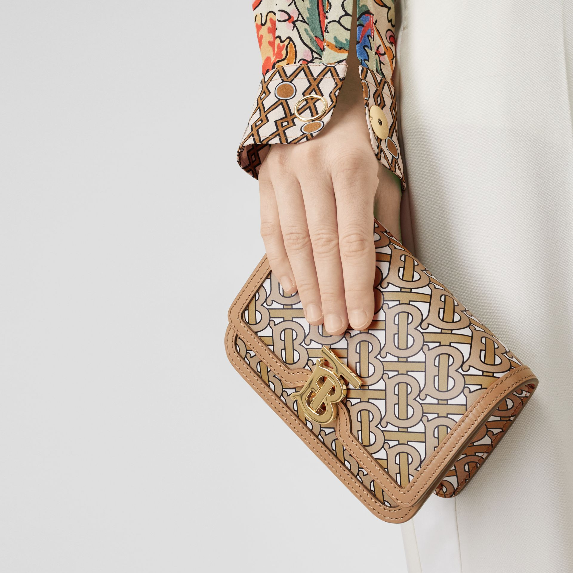 Mini Monogram Print Leather TB Bag in Beige - Women | Burberry - gallery image 2