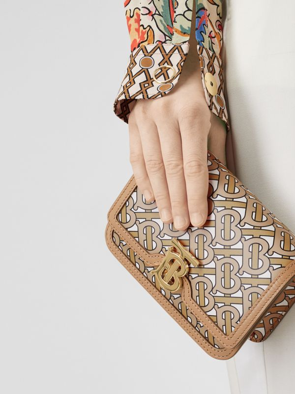 Mini Monogram Print Leather TB Bag in Beige - Women | Burberry United Kingdom - cell image 2