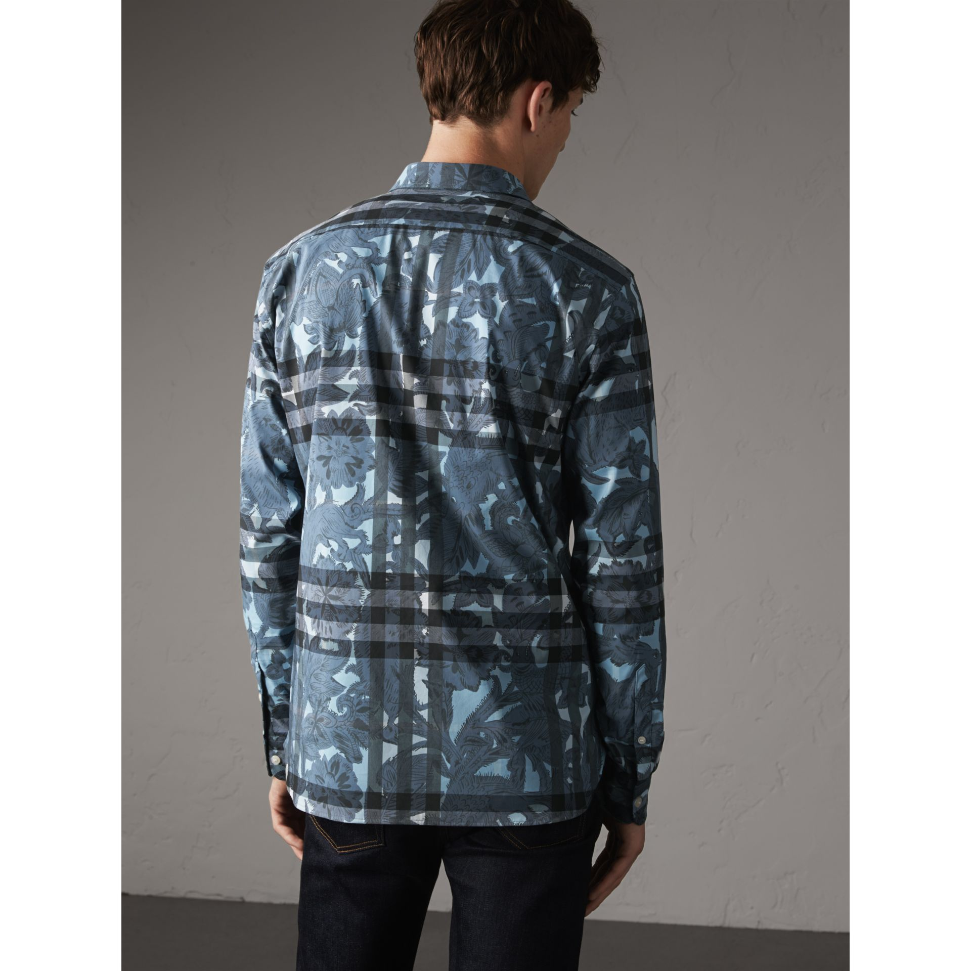 Beasts Print and Check Stretch Cotton Blend Shirt in Stone Blue - Men | Burberry - gallery image 3