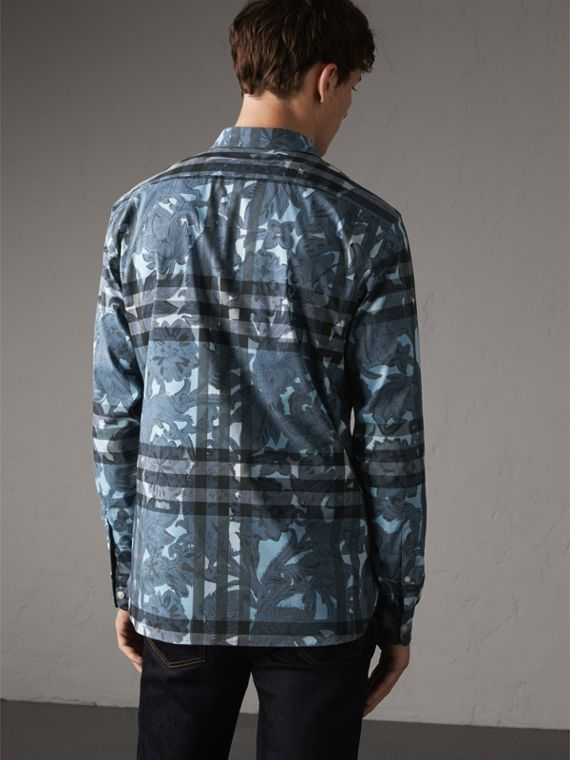 Beasts Print and Check Stretch Cotton Blend Shirt in Stone Blue - Men | Burberry - cell image 2
