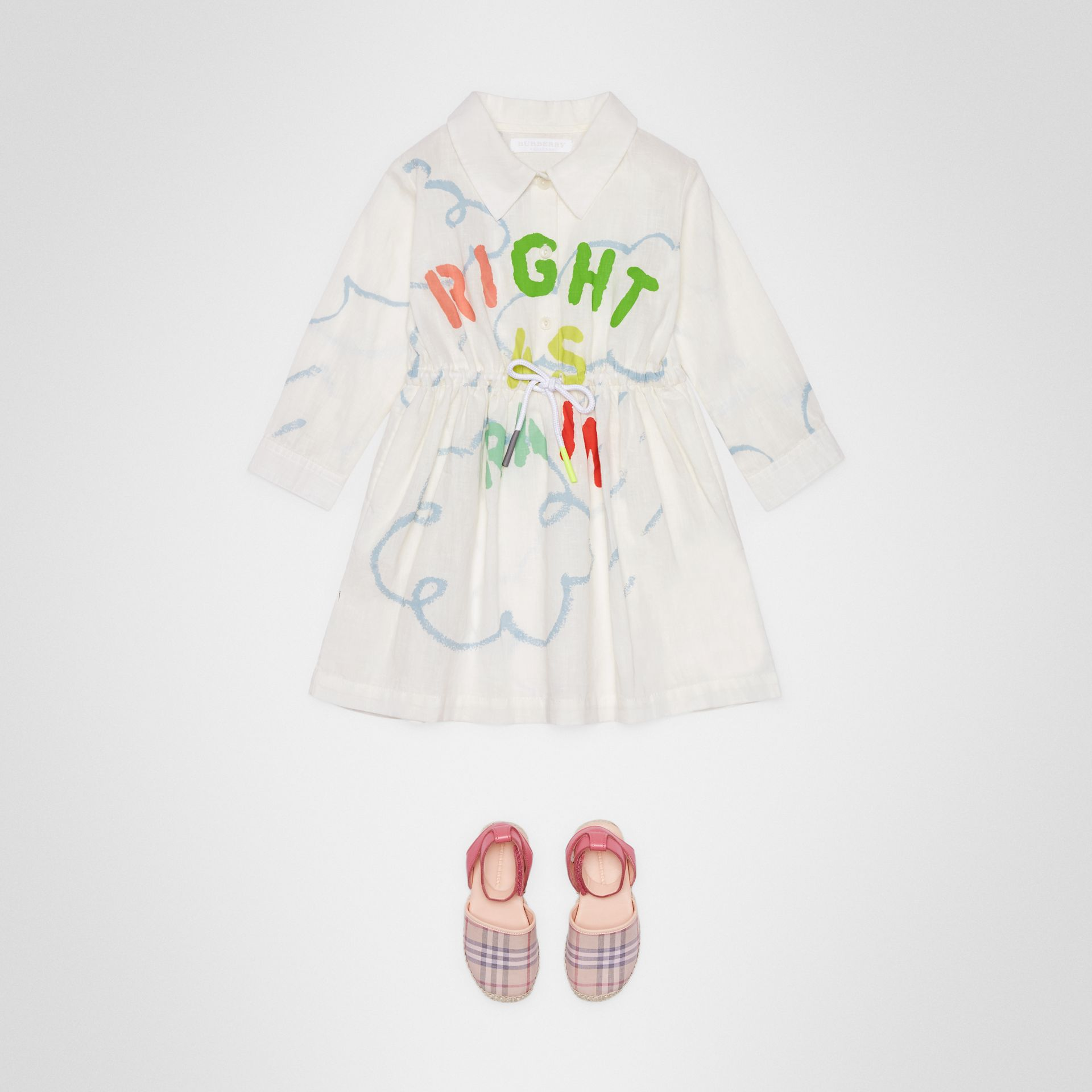 Weather Print Linen Cotton Shirt Dress in White - Children | Burberry - gallery image 2