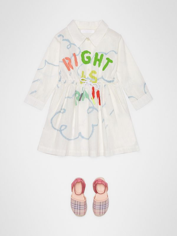 Weather Print Linen Cotton Shirt Dress in White - Children | Burberry - cell image 2