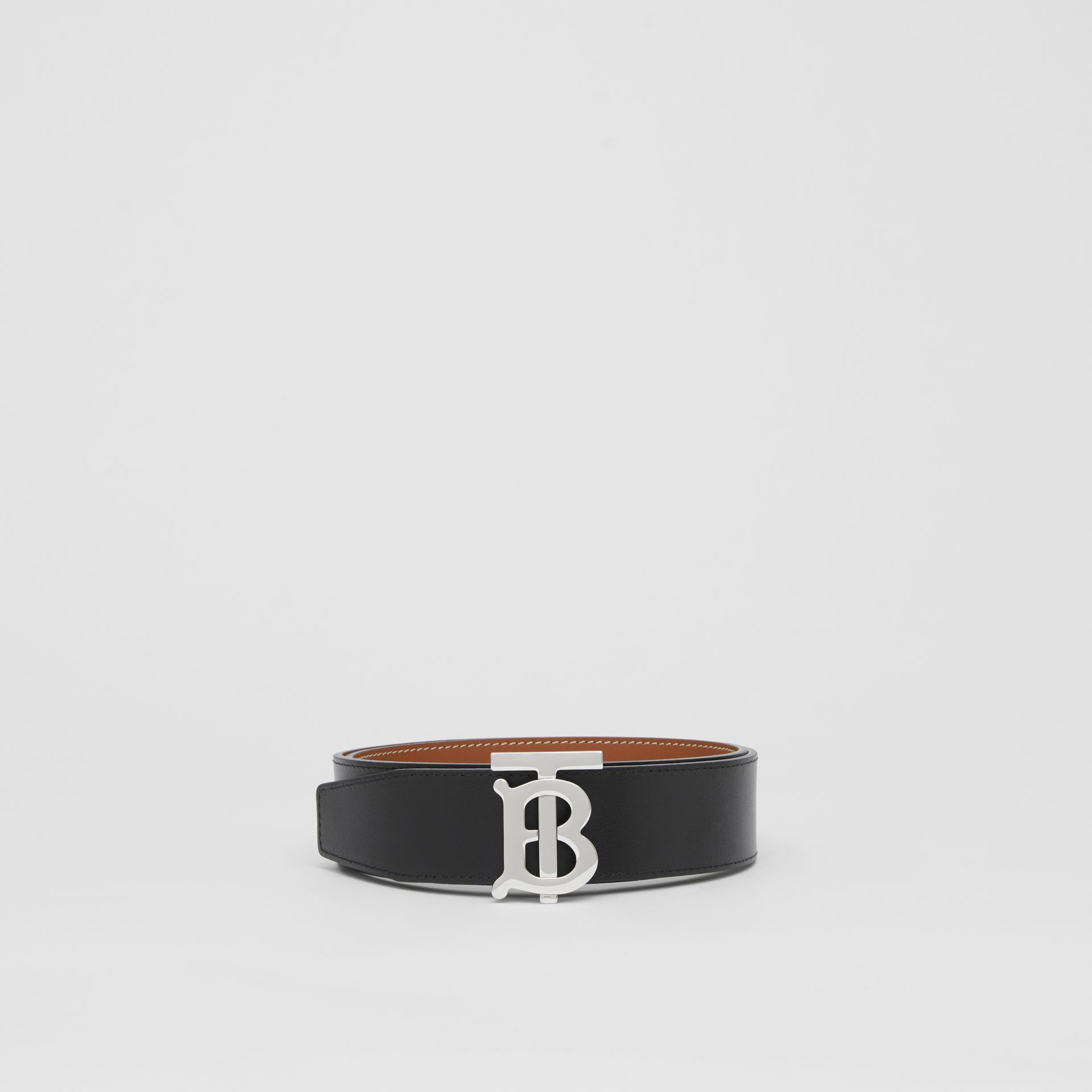 Reversible Monogram Motif Leather Belt in Tan/black - Men | Burberry Australia - gallery image 5