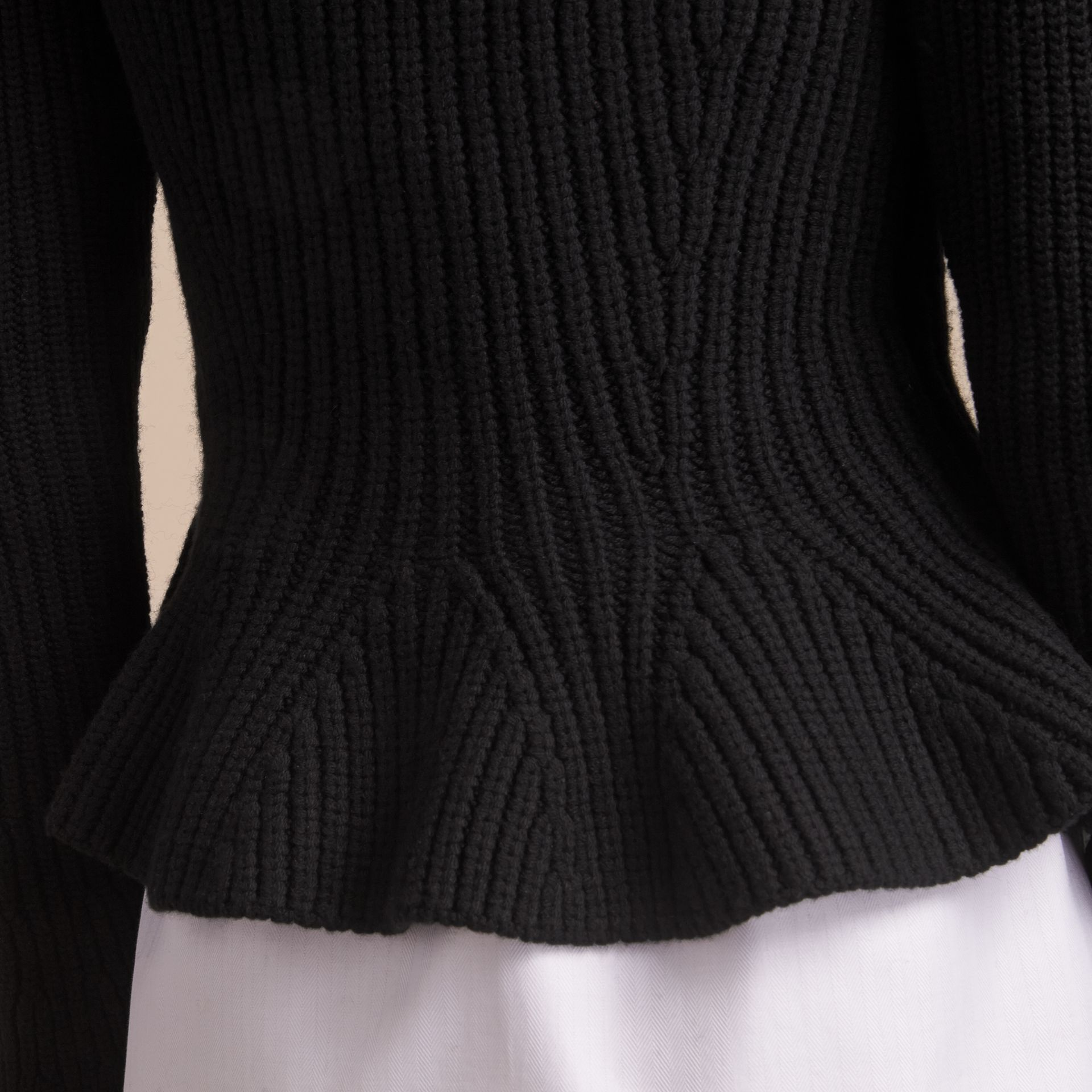 Knitted Wool Cashmere Blend Peplum Jacket - gallery image 5