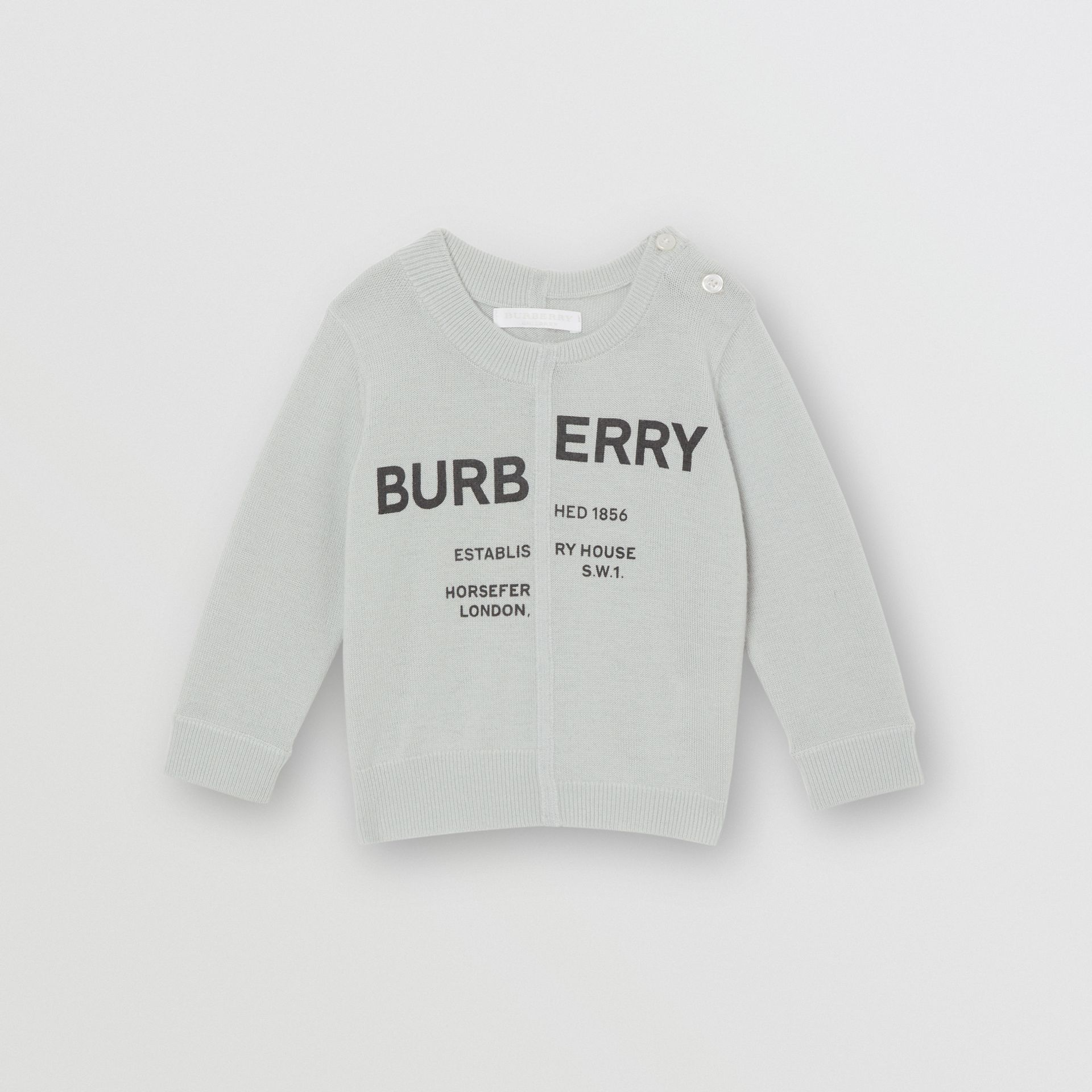 Horseferry Print Cashmere Sweater in Dusty Blue - Children | Burberry Australia - gallery image 0