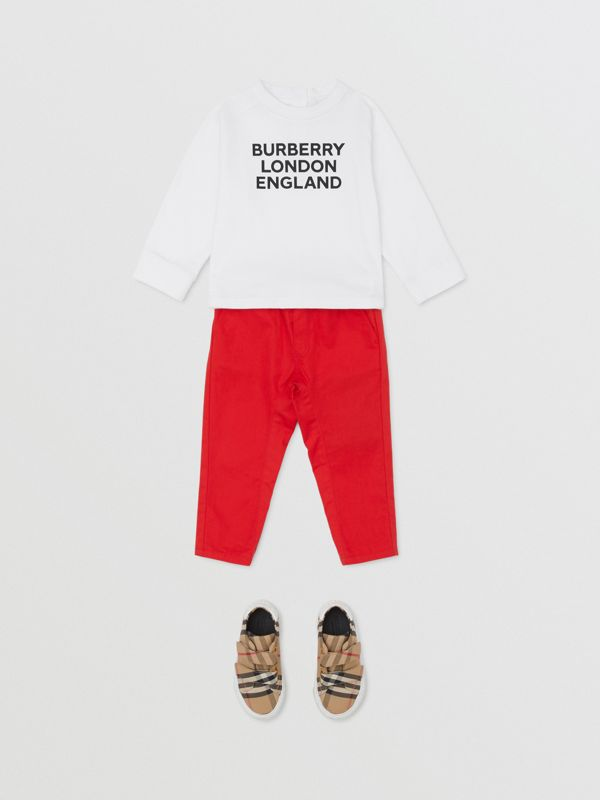 Long-sleeve Logo Print Cotton Top in White - Children | Burberry United Kingdom - cell image 2