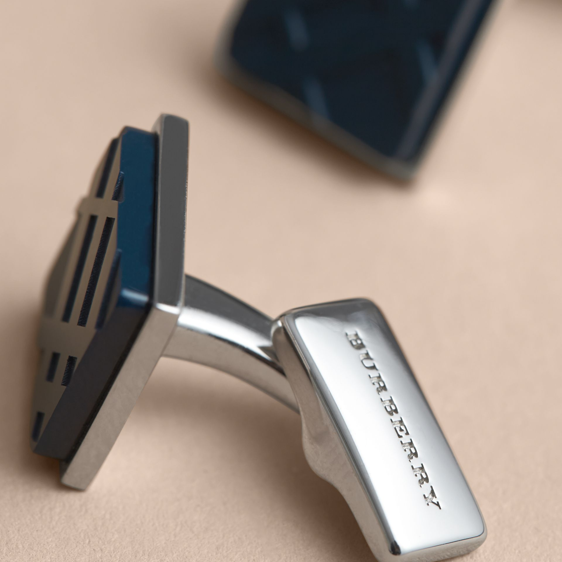 Check-engraved Square Cufflinks in Dark Navy - Men | Burberry - gallery image 3