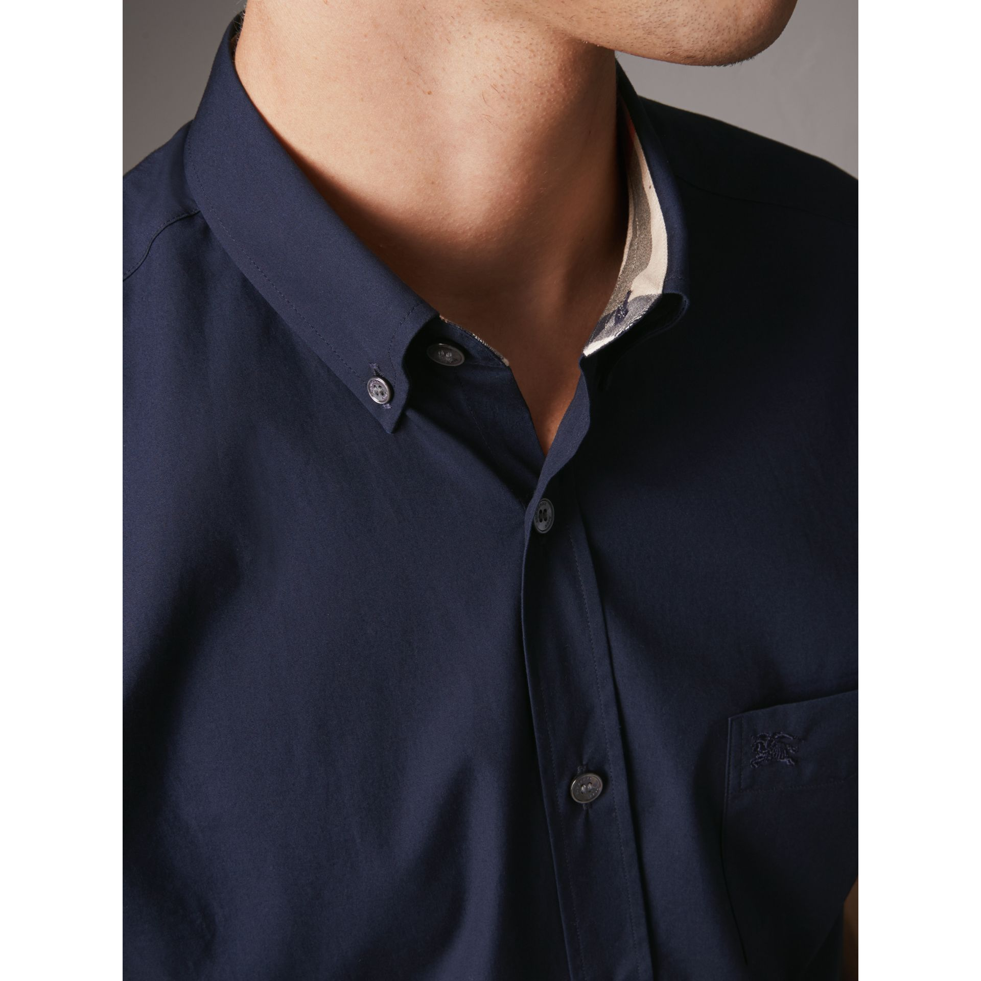 Short-sleeved Stretch Cotton Poplin Shirt in Navy - Men | Burberry - gallery image 1