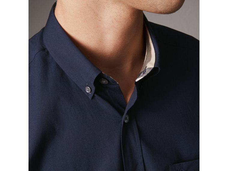 Short-sleeved Stretch Cotton Poplin Shirt in Navy - Men | Burberry United Kingdom - cell image 1