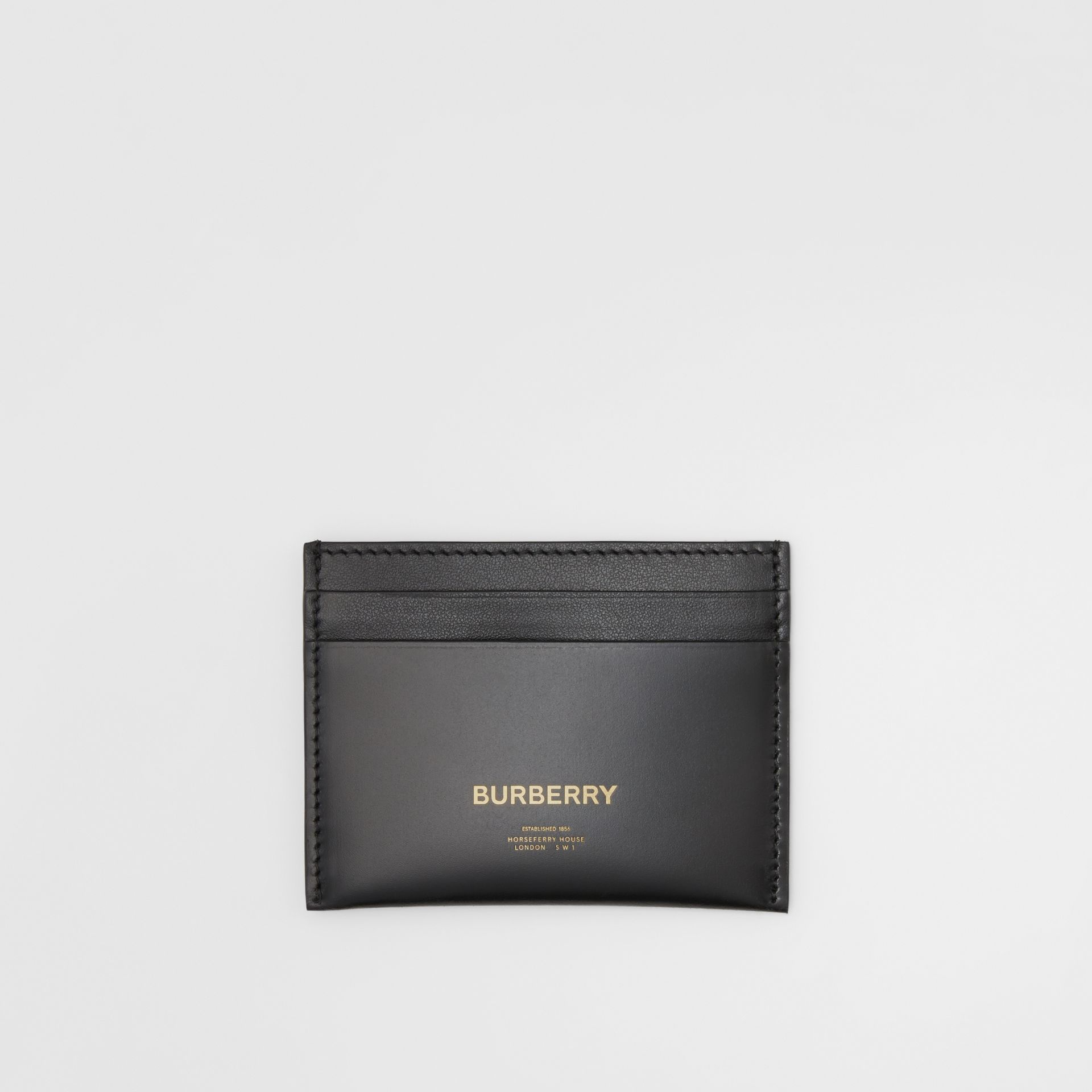 Horseferry Print Leather Card Case in Black | Burberry - gallery image 0