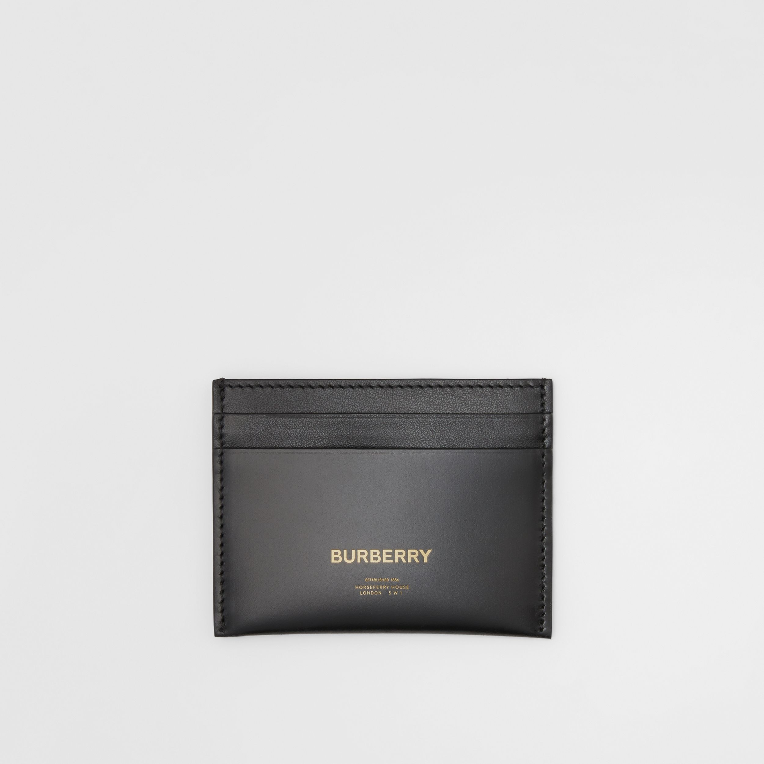 Horseferry Print Leather Card Case in Black | Burberry - 1