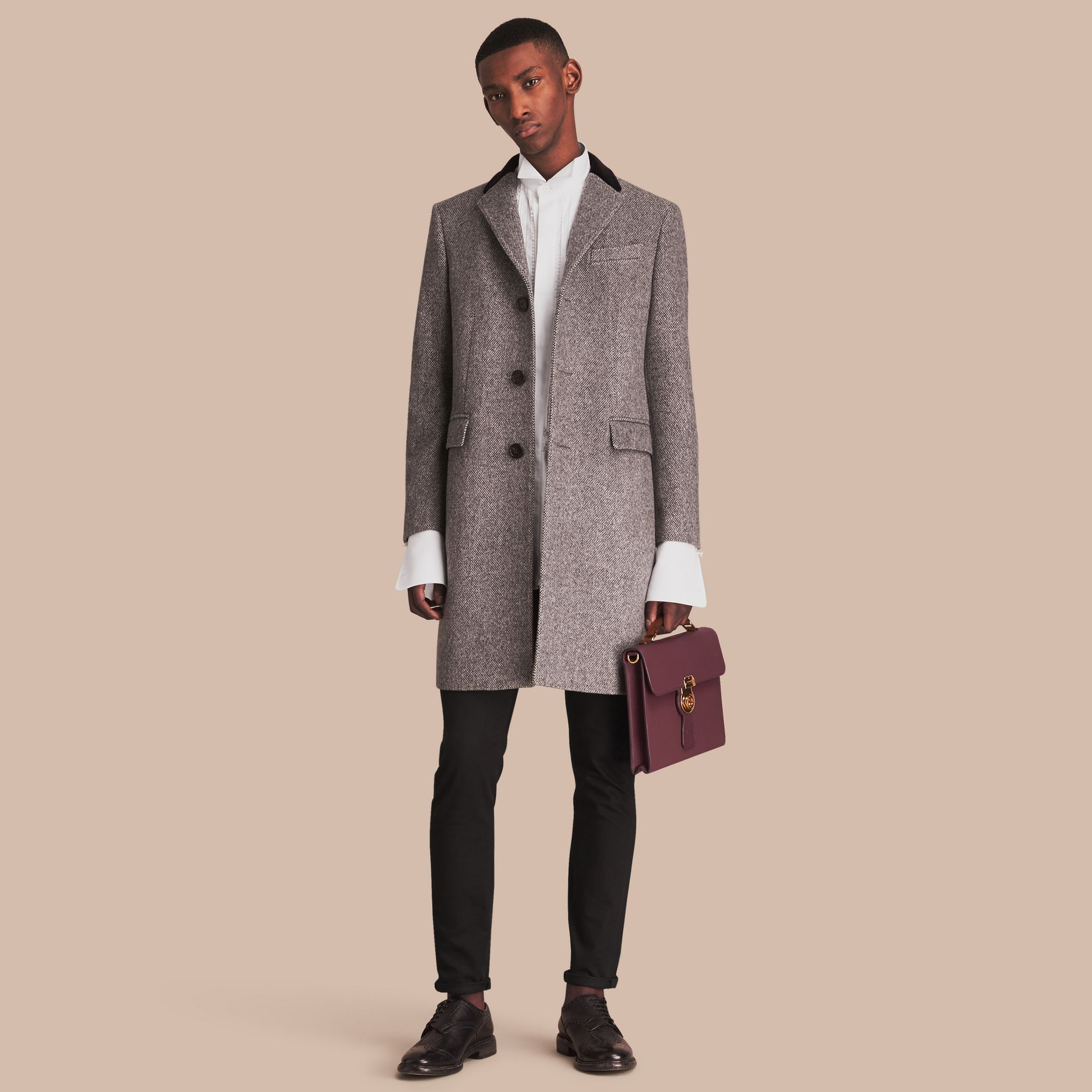 Velvet Collar Wool Tweed Topcoat in Black - Men | Burberry - gallery image 1