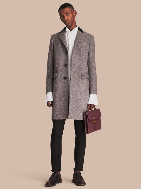 Velvet Collar Wool Tweed Topcoat - Men | Burberry Australia