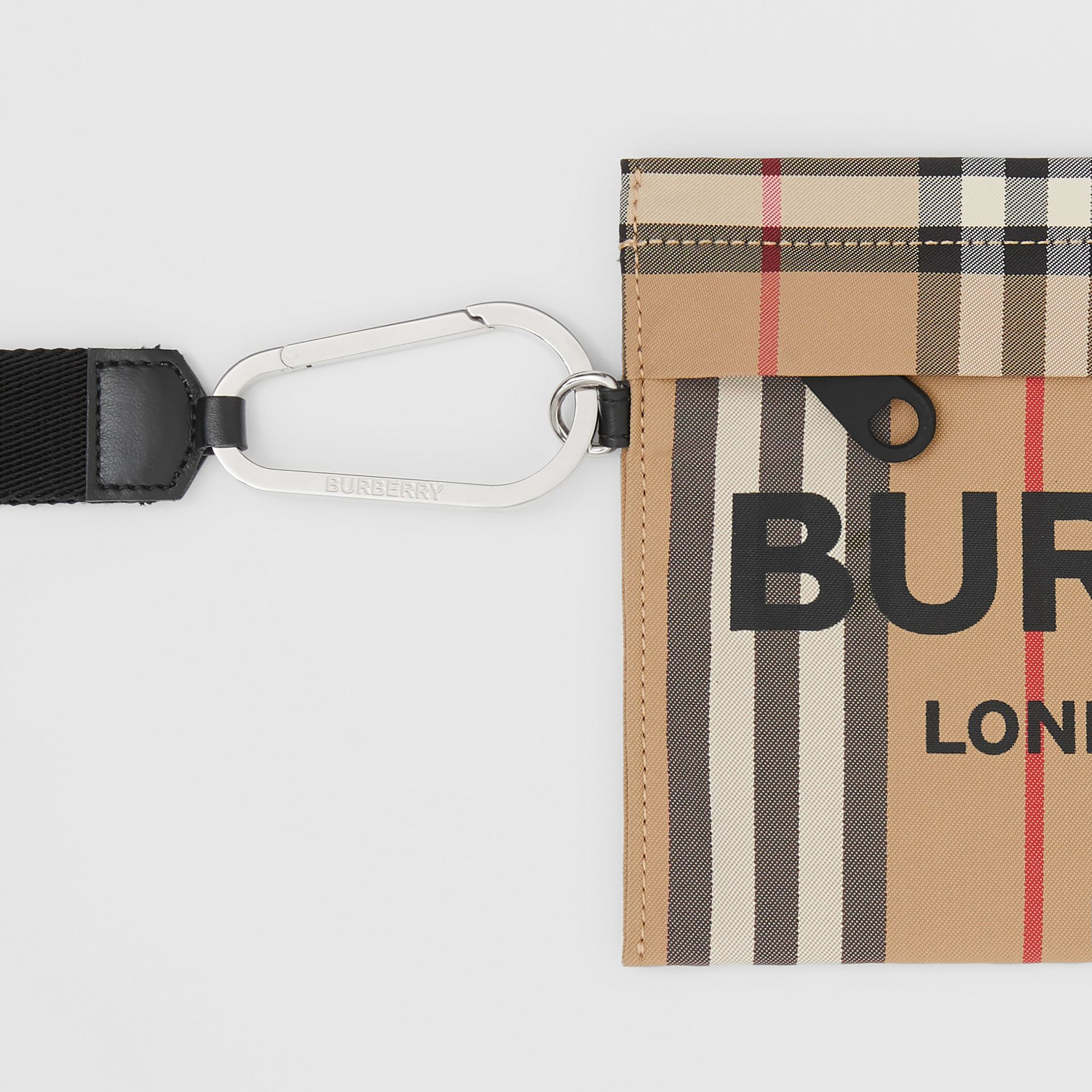 Logo Print Icon Stripe Nylon Zip Pouch in Archive Beige - Women | Burberry - gallery image 1