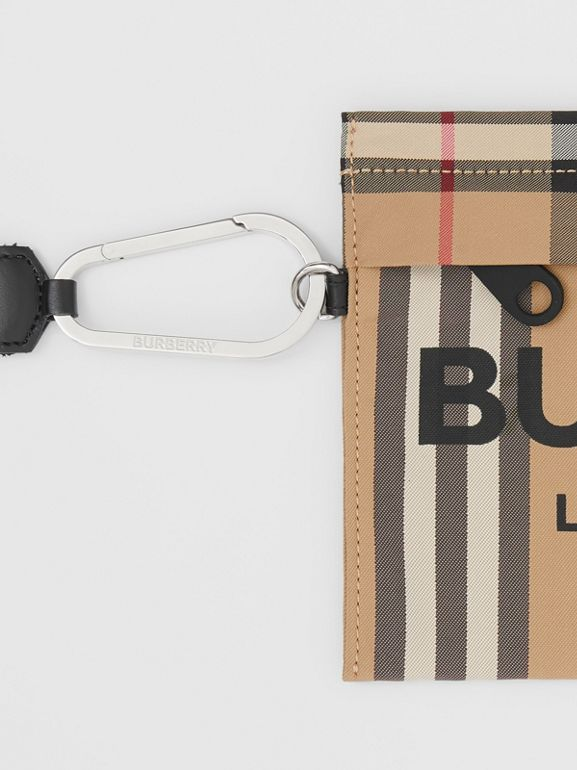 Logo Print Icon Stripe Nylon Zip Pouch in Archive Beige - Women | Burberry - cell image 1
