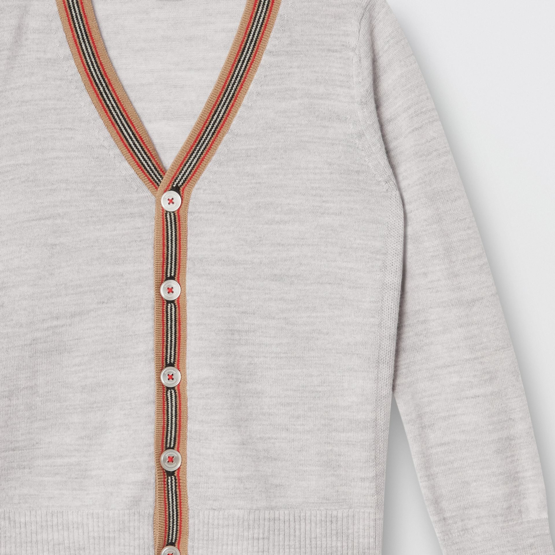 Icon Stripe Detail Merino Wool Cardigan in Light Grey Melange - Children | Burberry United Kingdom - gallery image 5