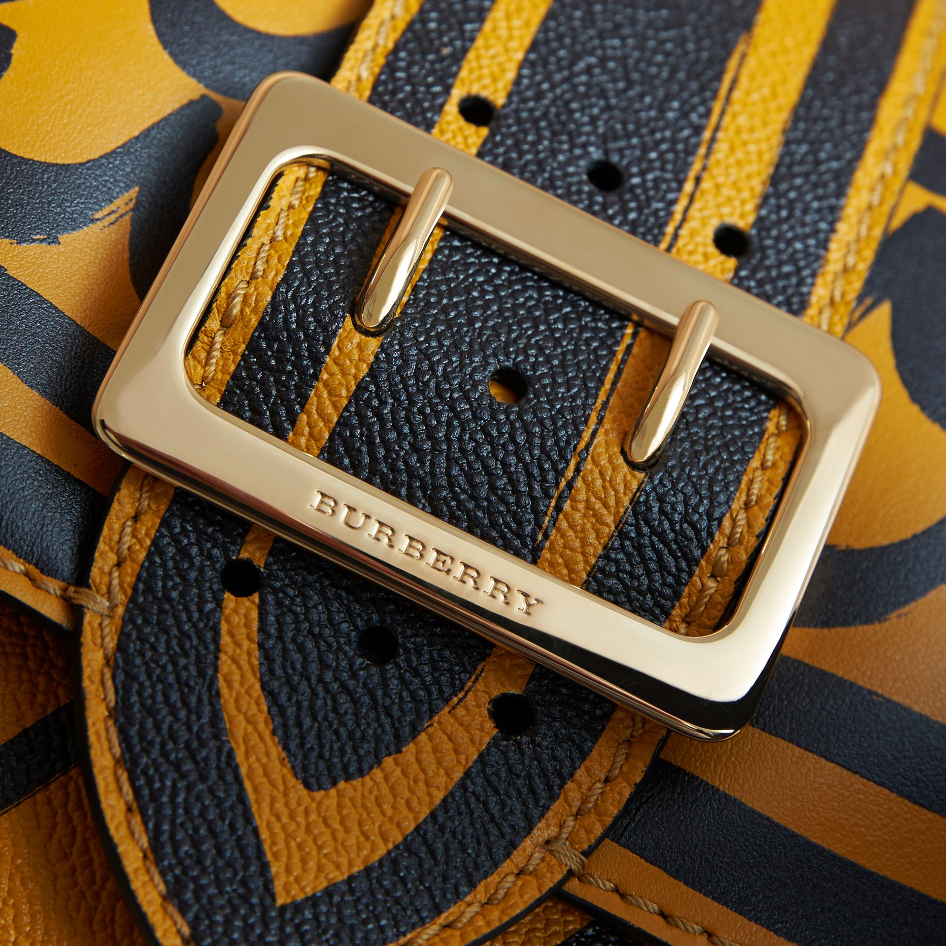 The Buckle Crossbody Bag in Trompe L'oeil Leather in Bright Straw - gallery image 2