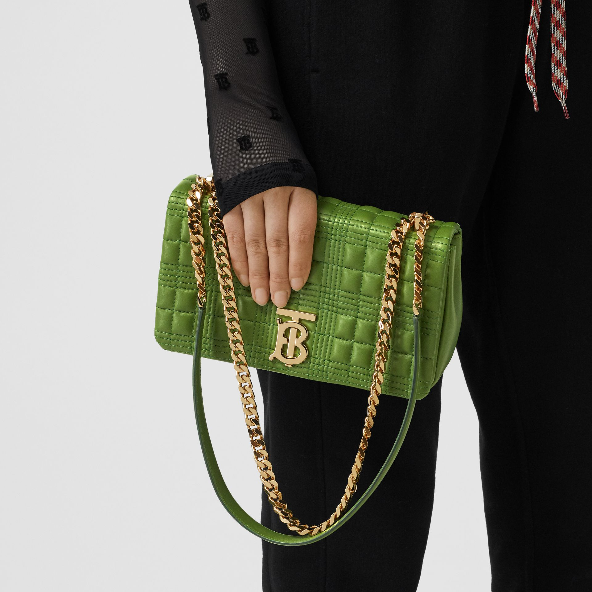 Small Quilted Check Lambskin Lola Bag in Green Forest - Women | Burberry - gallery image 2