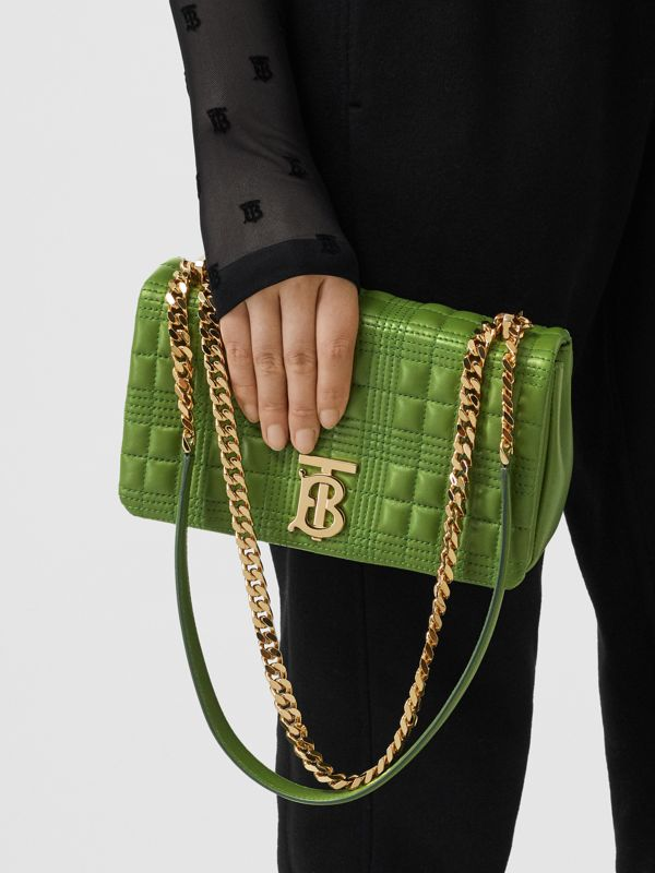 Small Quilted Check Lambskin Lola Bag in Green Forest - Women | Burberry - cell image 2