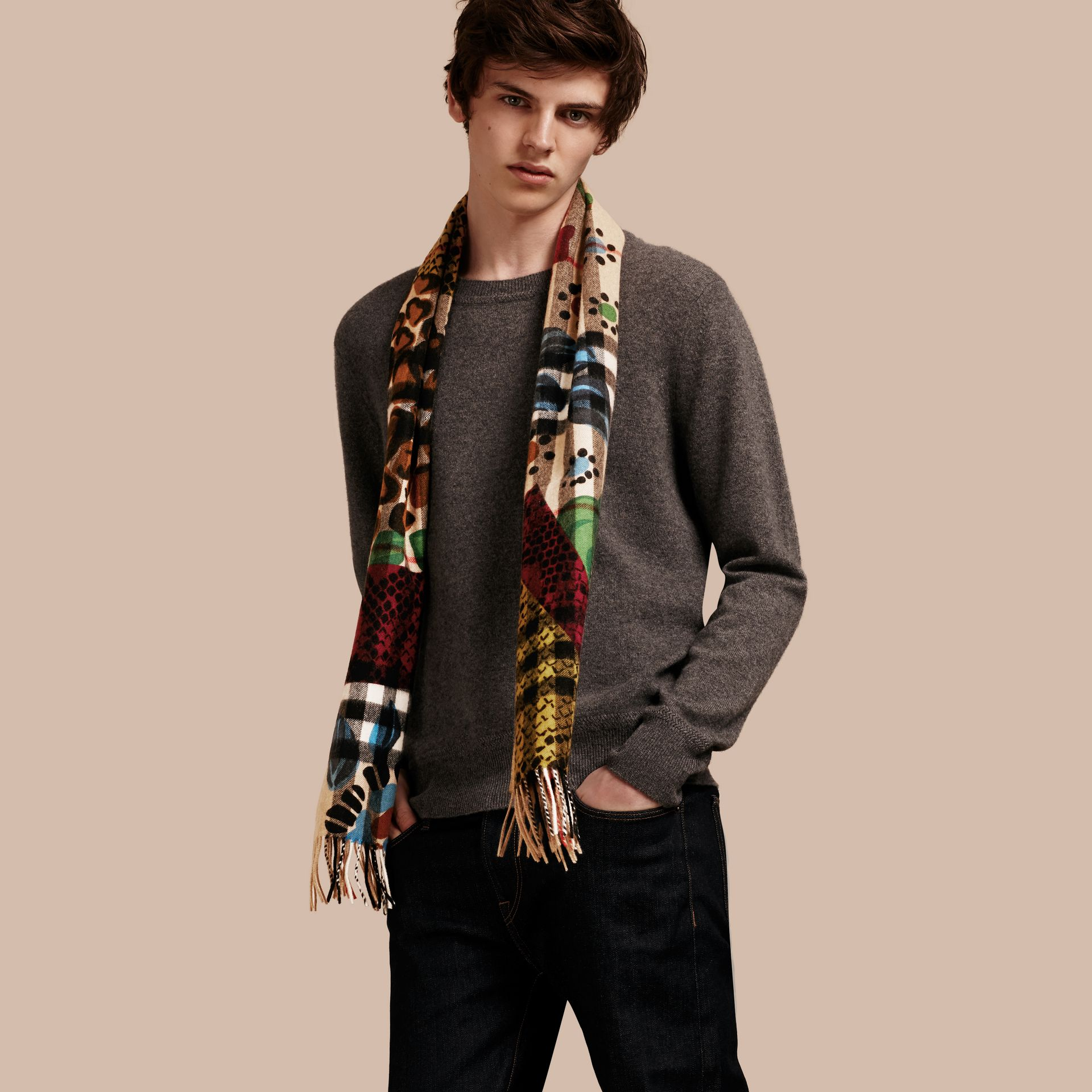 Multicolour The Classic Cashmere Scarf in Check with Patchwork Print - gallery image 4