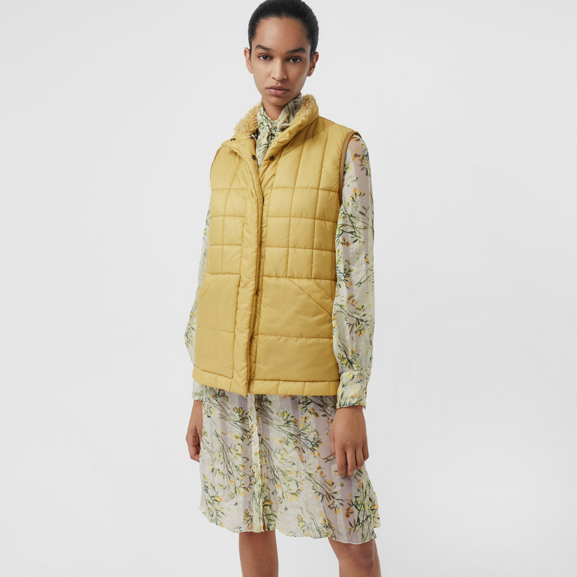 Faux Shearling Collar Lightweight Quilted Gilet in Yellow Quartz - Women | Burberry Australia - gallery image 4