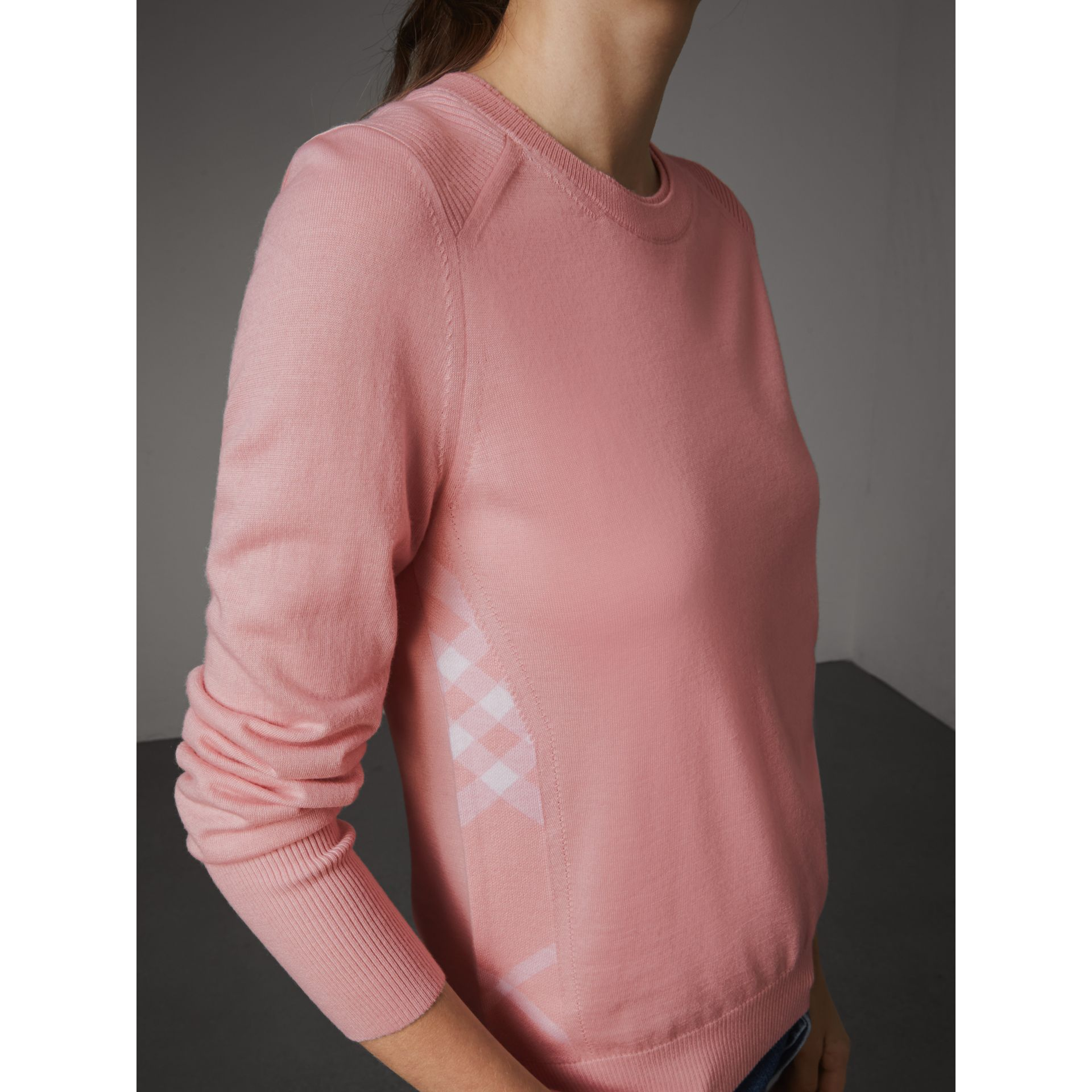 Check Detail Merino Wool Sweater in Apricot Pink - Women | Burberry - gallery image 2
