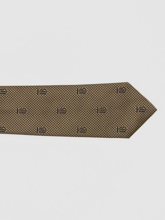 Classic Cut Puppytooth Check Silk Tie in Dark Sand - Men | Burberry United Kingdom - cell image 1