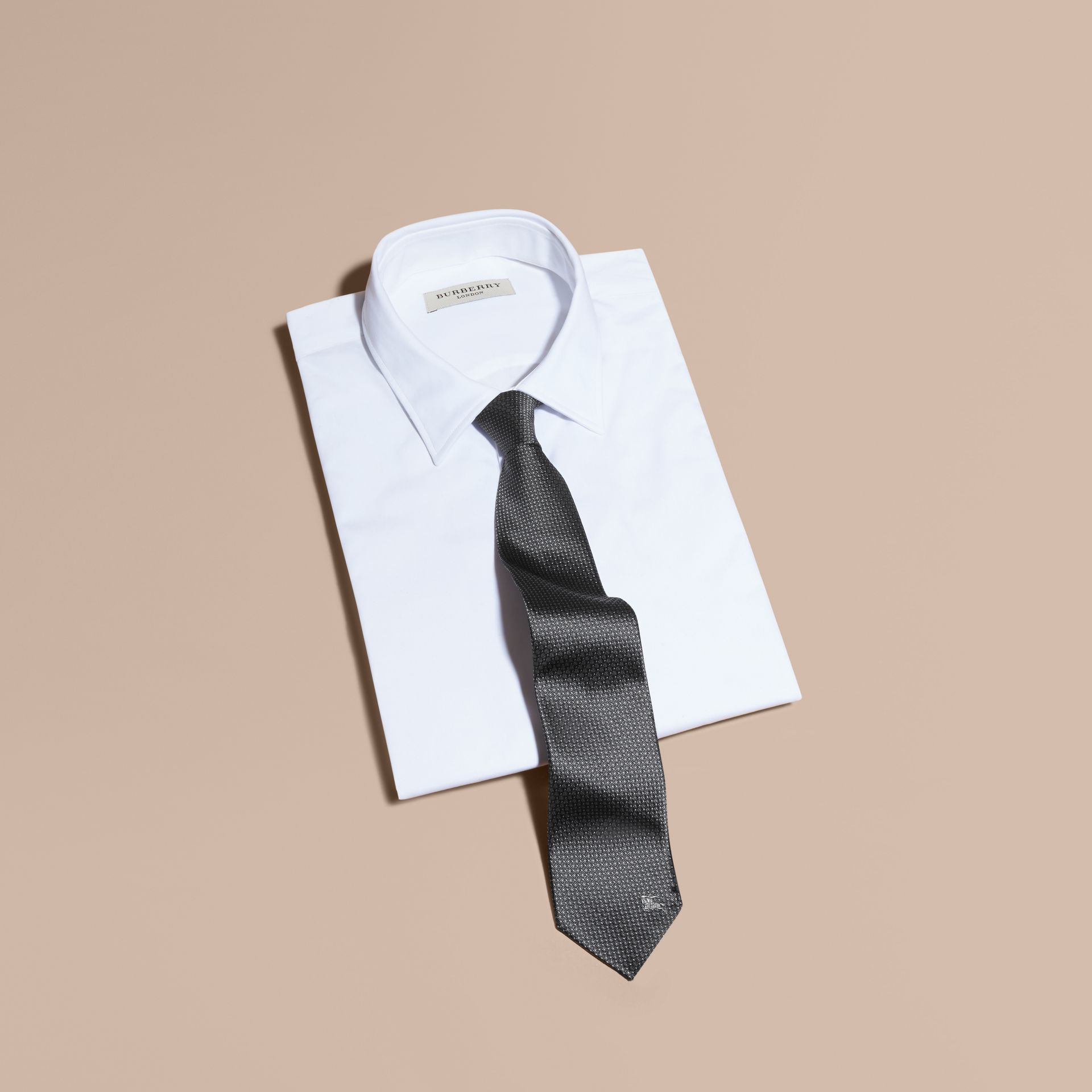 Modern Cut Patterned Silk Tie in Mid Grey - gallery image 4