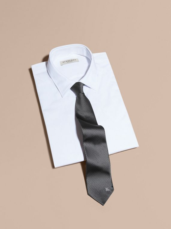 Modern Cut Patterned Silk Tie in Mid Grey - Men | Burberry - cell image 3