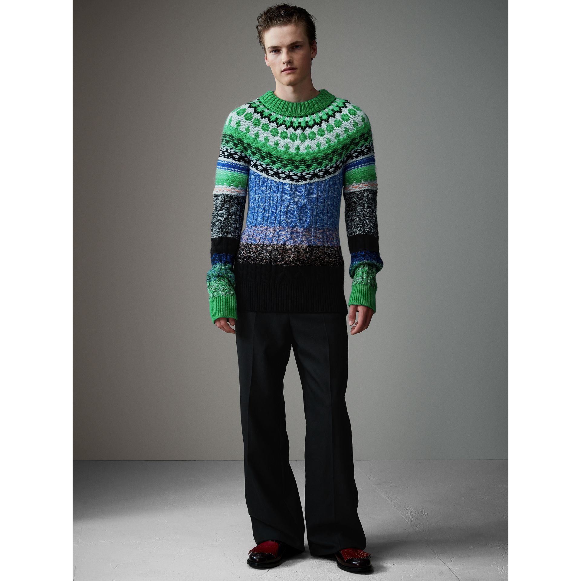 Multi-knit Cashmere Wool Mohair Mouliné Sweater in Bright Turquoise Green - Men | Burberry Hong Kong - gallery image 1
