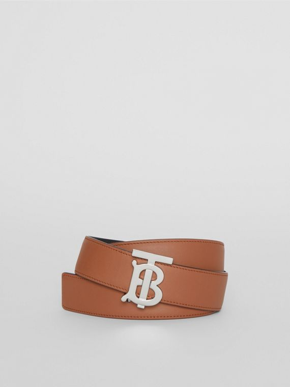 Reversible Monogram Motif Leather Belt in Malt Brown/black