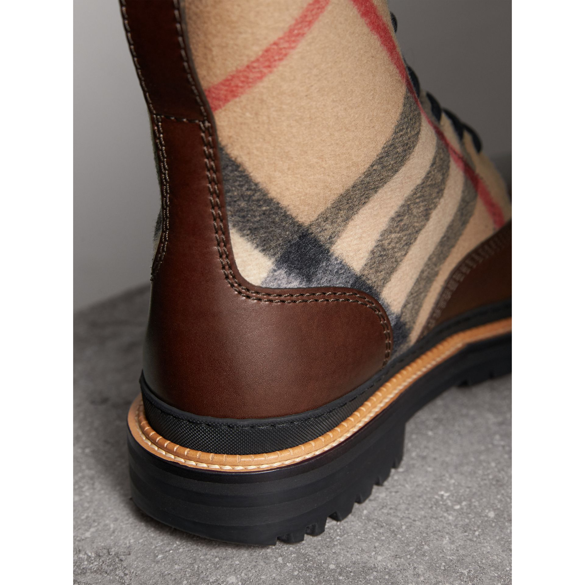 Shearling-lined Leather and Check Boots in Mid Camel - Men | Burberry United Kingdom - gallery image 1