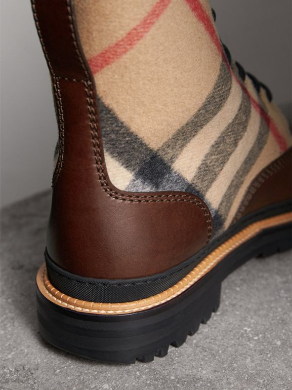 Shearling-lined Leather and Check Boots in Mid Camel - Men | Burberry United Kingdom - cell image 1
