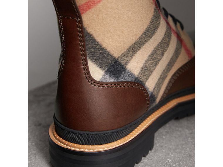 Shearling-lined Leather and Check Boots in Mid Camel - Men | Burberry Hong Kong - cell image 1