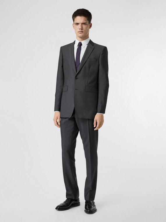 Classic Fit Wool Mohair Suit in Dark Grey