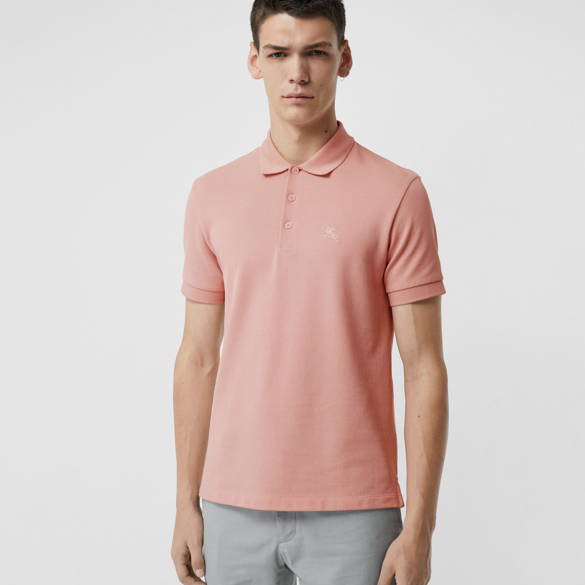 Check Placket Cotton Polo Shirt in Chalk Pink - Men | Burberry United Kingdom - gallery image 1
