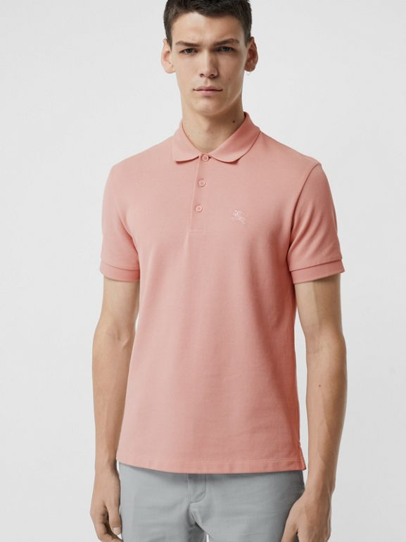 Check Placket Cotton Polo Shirt in Chalk Pink - Men | Burberry Singapore - cell image 1