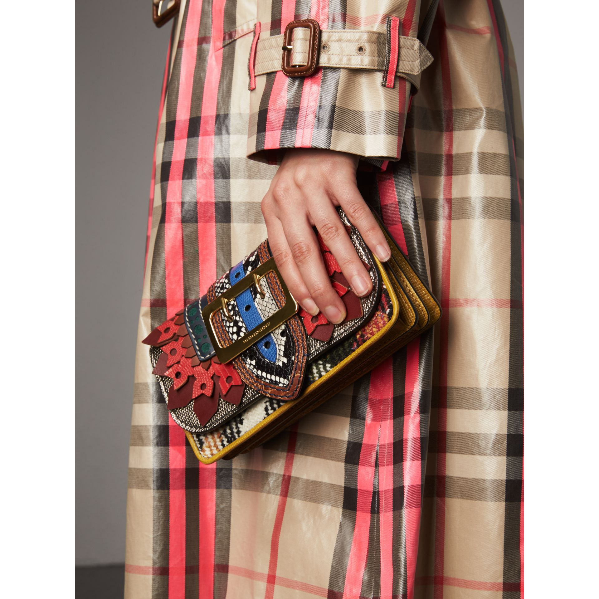The Patchwork in Exotics and Punched Leather in Yellow/plum - Women | Burberry Australia - gallery image 7