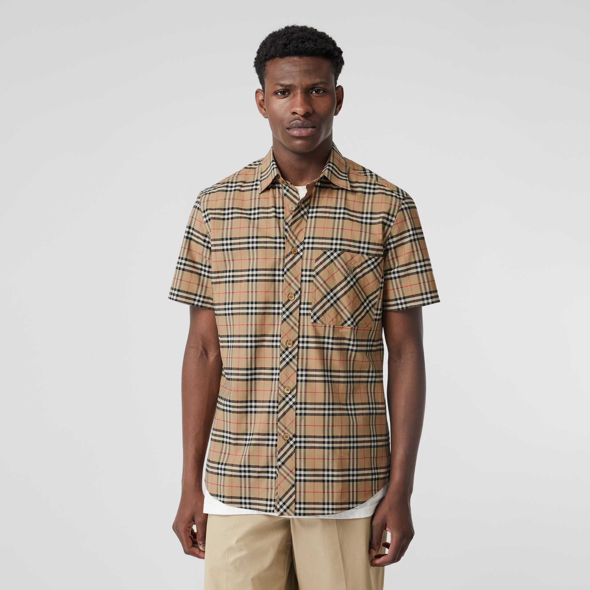Short-sleeve Small Scale Check Stretch Cotton Shirt in Archive Beige - Men | Burberry Canada - gallery image 0