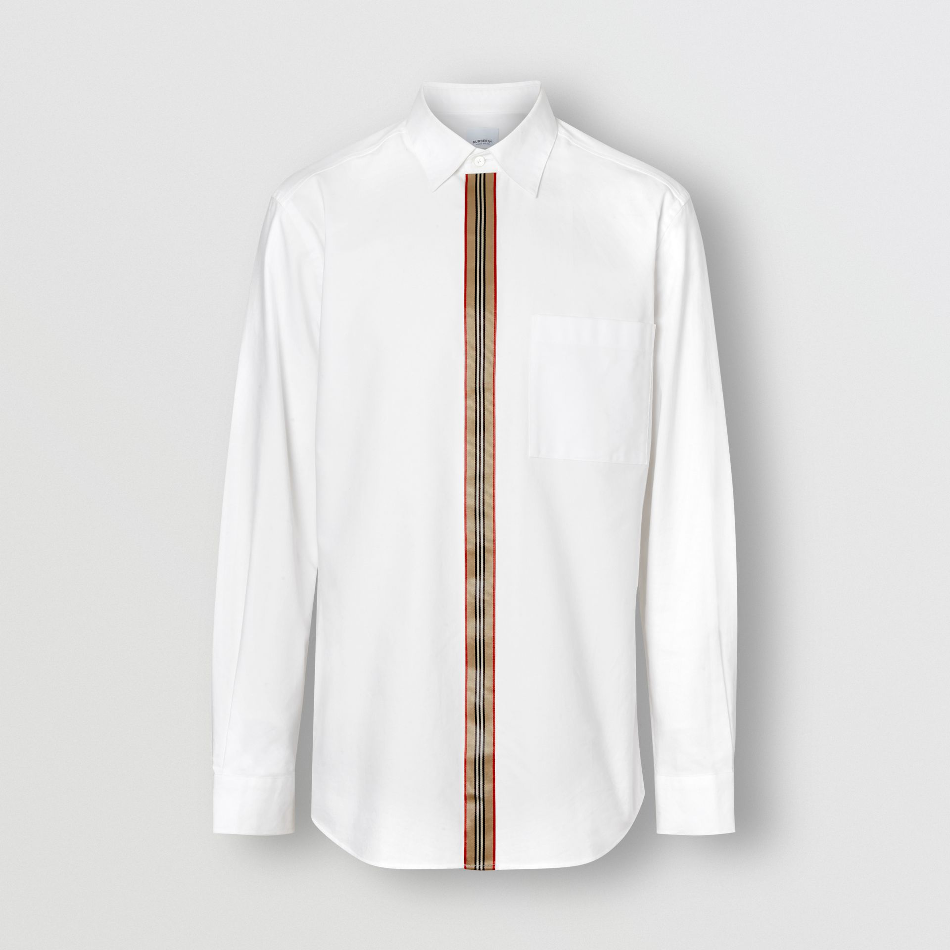 Icon Stripe Detail Stretch Cotton Poplin Shirt in White - Men | Burberry - gallery image 3
