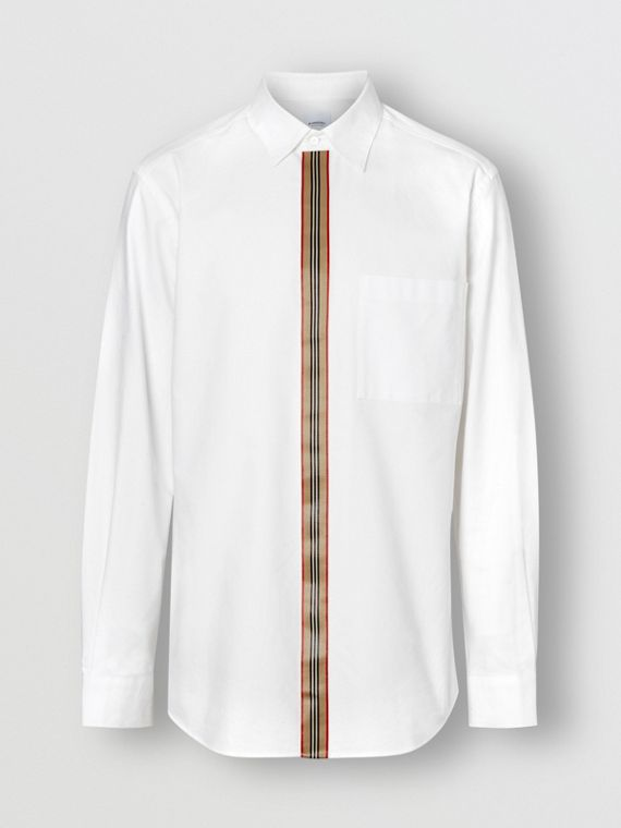 Icon Stripe Detail Stretch Cotton Poplin Shirt in White