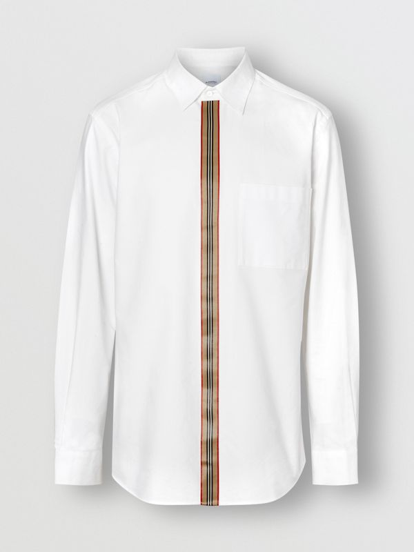 Icon Stripe Detail Stretch Cotton Poplin Shirt in White - Men | Burberry - cell image 3