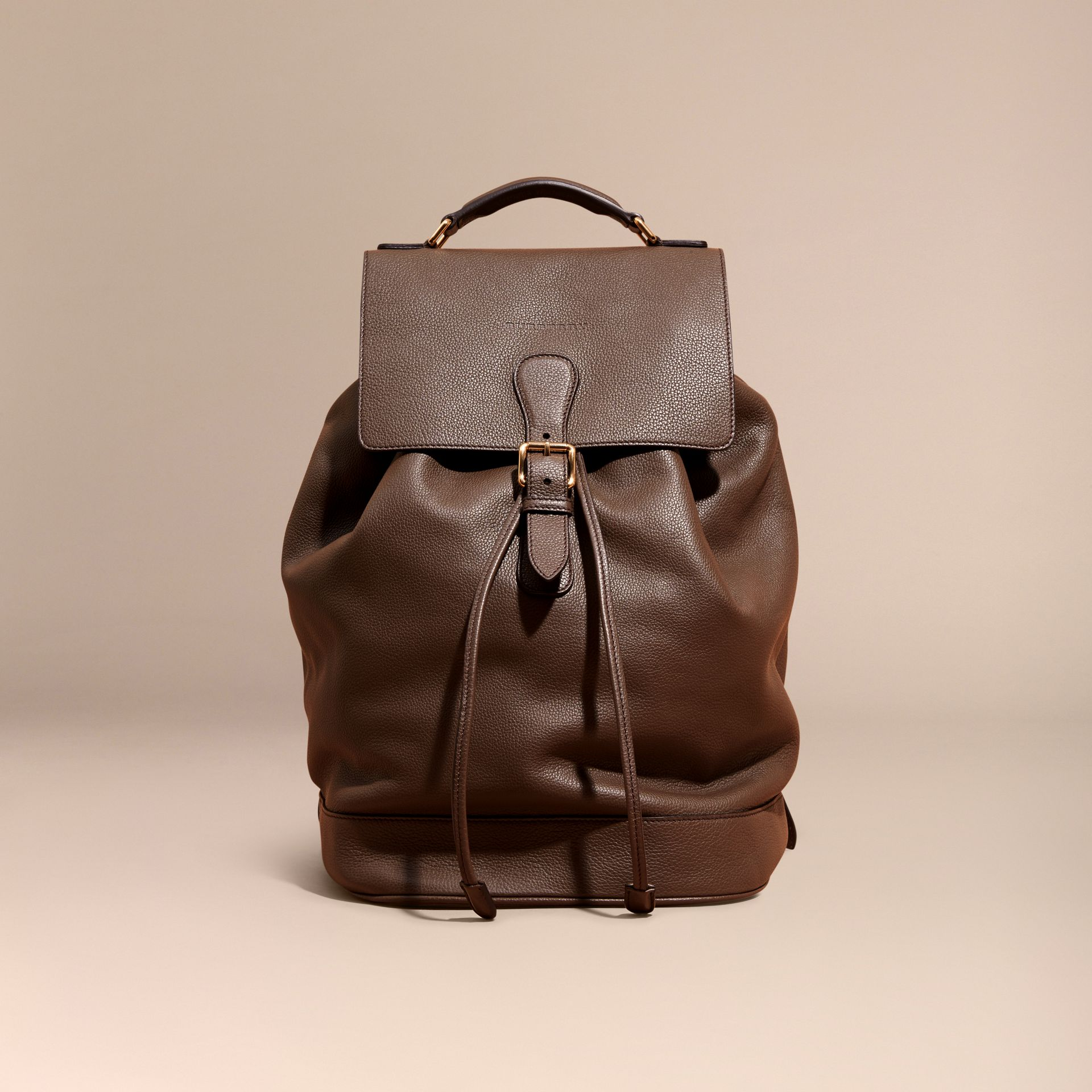 Deep taupe brown Grainy Leather Backpack Deep Taupe Brown - gallery image 8