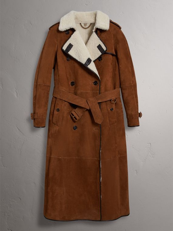 Raglan-sleeve Suede and Shearling Trench Coat in Ecru - Women | Burberry - cell image 3