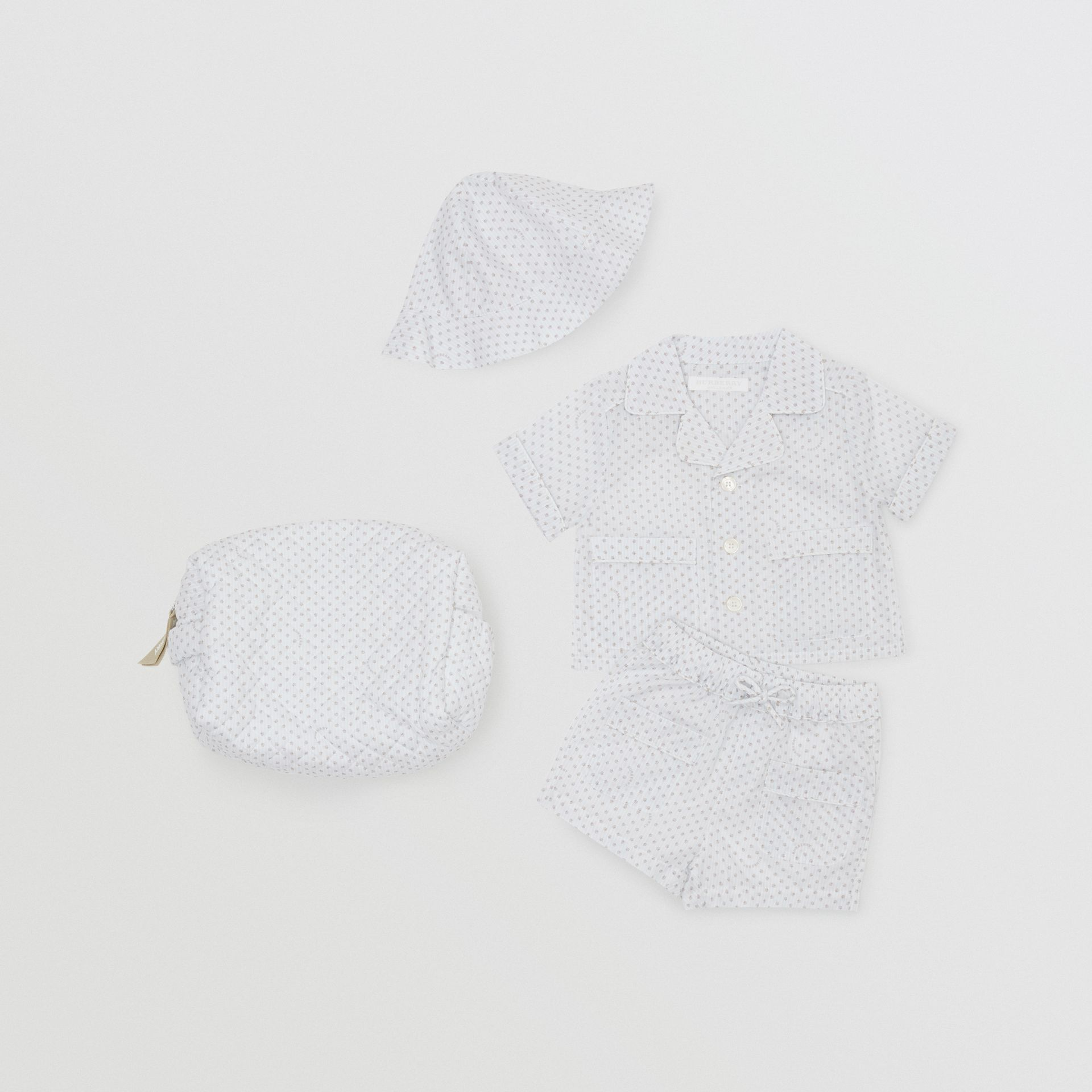 Paw Print Striped Cotton Three-piece Baby Gift Set in Natural White - Children | Burberry United States - gallery image 0