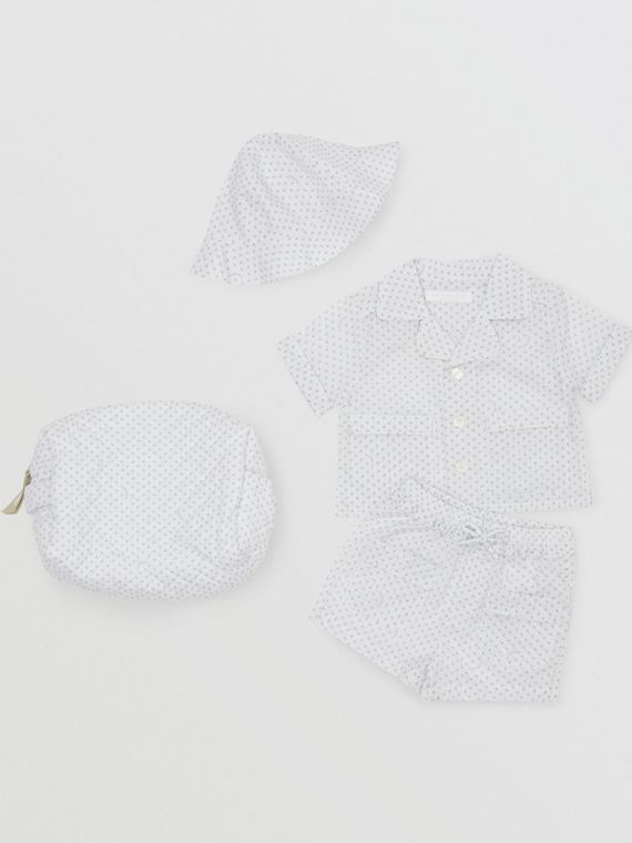 Paw Print Striped Cotton Three-piece Baby Gift Set in Natural White
