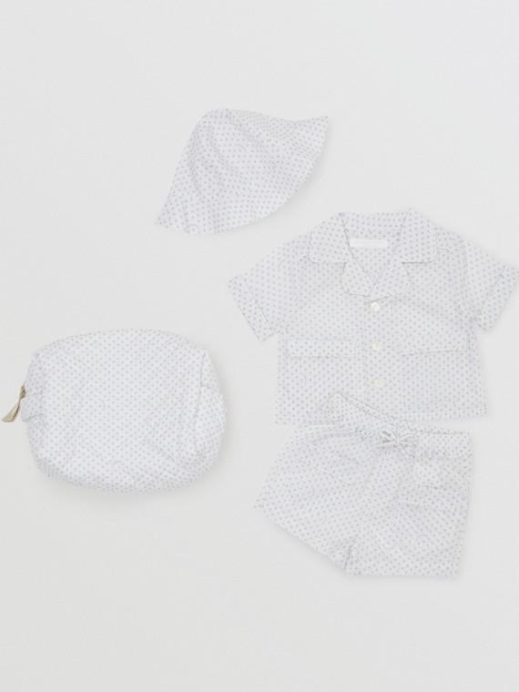 Conjunto de regalo de tres piezas en algodón a rayas con estampado de patitas (Blanco Natural)